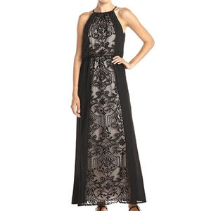 London Times Halter Neck Lace Inset Long Dress